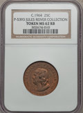 """circa-1964 DuPont Franklin """"Quarter"""", Pollock-5393, MS62 Red and Brown NGC. Copper....(PCGS# 62401)"""