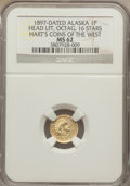 "Alaska Tokens, ""1897"" Head Right, 16 Stars, Round, Alaska Gold One Pinch, MS62 NGC. HK-838. Hart's Coins of the West. NGC has incorrectly l..."