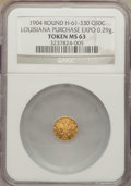 Expositions and Fairs, 1904 Louisiana Purchase Exposition, Louisiana 1/2 Gold, MS63 NGC.Hendershott-61-330. 0.29 gm....