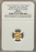 California Gold Charms, 1915 Minerva and Bear, Round, California Gold One, MS64 NGC. Hart's Coins of the West....