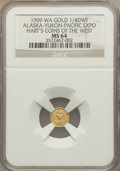 Expositions and Fairs, 1909 Alaska-Yukon-Pacific Exposition, 1/4 DWT, MS64 NGC. Hart's Coins of the West....