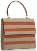 Luxury Accessories:Bags, Celine Beige Monogram Canvas & Leather Stripped Top Handle Bag. ...