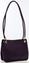 Luxury Accessories:Bags, Bottega Veneta Plum Intrecciato Leather Shoulder Bag. ...