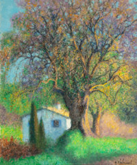 RAYMOND THIBÉSART (French, 1874-1968) Cottage with Olive Tree, La Colle-sur-Loup, France Oil on canv