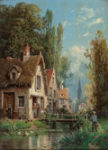 Fine Art - Painting, European:Antique  (Pre 1900), CHARLES EUPHRASIE KUWASSEG (French, 1833-1904). Scenes in anAlpine Village (two works). Oil on board. 12-1/2 x 9-1/4 in...(Total: 2 Items)