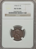 Lincoln Cents: , 1924-D 1C AU55 NGC. NGC Census: (42/147). PCGS Population (90/211). Mintage: 2,520,000. Numismedia Wsl. Price for problem f...