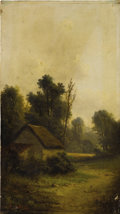 Fine Art - Painting, European:Antique  (Pre 1900), ALFRED (A. STONE) STEINACKER (Hungarian 1838-1914). Landscape with Cottage. Oil on canvas. 18 x 10 inches (45.7 x 25.4 c...