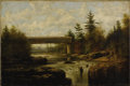 Fine Art - Painting, American:Antique  (Pre 1900), AMERICAN SCHOOL (Late Nineteenth Century). Covered Bridge in theFall. Oil on canvas. 12 x 18 inches (30.5 x 45.7 cm). U...