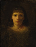 Paintings, BRITISH SCHOOL (Nineteenth/Twentieth Century) . Portrait of a Young Girl. Oil on canvas. 19 x 14 1/2 inches. framed. ...