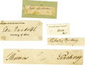 Autographs:Statesmen, Five Signatures by Early Americans A nice collector's lot of fiveclipped signatures by: Roger Sherman, Signer of the De... (Total: 5Item)