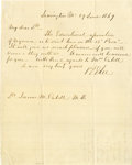 "Autographs:Military Figures, Robert E. Lee Autograph Letter Signed as president of Washington College, one page, 7.75"" x 9"", Lexington, June 29, 1869, ... (Total: 2 Items)"