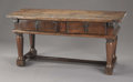 Decorative Arts, French, A French Chestnut Farm Table. Unknown maker, French. 18th century.Chestnut. Unmarked. 32 x 59 x 26 inches (81.3 x 149.9 ...