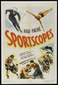 """Movie Posters:Sports, Sportscopes (RKO, 1943). One Sheet (27"""" X 41""""). Sports Shorts. Starring the sports stars of the day. Keywords: skiing, divin..."""