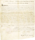 "Autographs:U.S. Presidents, John Adams Signed Land Grant Awarded for Service in the VirginiaLine DS ""John Adams"" as President and co-signed by""T..."