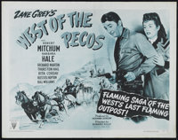 "West of the Pecos (RKO, R-1951). Half Sheet (22"" X 28""). Western. Directed by Edward Killy. Starring Robert Mi..."