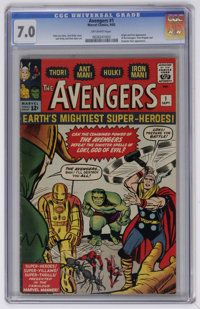 The Avengers #1 (Marvel, 1963) CGC FN/VF 7.0 Off-white pages. This very key Silver Age issues features the origin and fi...