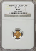California Fractional Gold: , 1872 50C Liberty Octagonal 50 Cents, BG-914, R.4, MS62 NGC. NGCCensus: (4/8). PCGS Population (14/35). ...