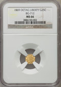 California Fractional Gold: , 1869 25C Liberty Octagonal 25 Cents, BG-712, High R.4, MS66 NGC.NGC Census: (4/1). PCGS Population (7/0). ...