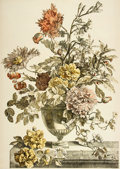 Books:Prints & Leaves, [Jean-Baptiste Monnoyer]. Large Hand-Colored Engraved PrintDepicting Arranged Flowers. From a design by Jean-Baptiste M...