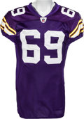Football Collectibles:Uniforms, 2009 Jared Allen Game Worn Unwashed Minnesota Vikings Jersey - Worn in 4.5 Sack Performance Oct. 5 vs. Green Bay. ...