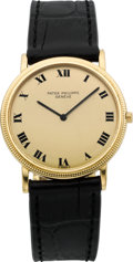 Timepieces:Wristwatch, Patek Philippe Ref. 3520 D, Very Fine Gold Wristwatch With HobnailBezel, circa 1986. ...