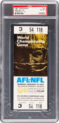 Football Collectibles:Tickets, 1967 Super Bowl I Full Ticket PSA VG-EX 4 - White Variation....