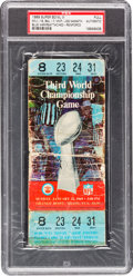 Football Collectibles:Tickets, 1969 Super Bowl III Full Ticket Authentic - Blue Variation....