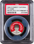 "Baseball Cards:Singles (Pre-1930), 1909-12 PX7 Domino Disc Ty Cobb, No ""D"" on Cap PSA NM-MT 8 -Highest Graded Example! ..."