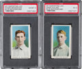 Baseball Cards:Lots, 1910-11 M116 Sporting Life HoFers Blue Background Pair (2). ...