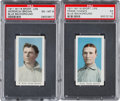 Baseball Cards:Lots, 1910-11 M116 Sporting Life Cubs HoFers Blue Background PSA GradedPair (2). ...