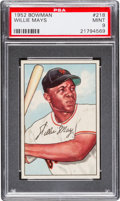 Baseball Cards:Singles (1950-1959), 1952 Bowman Willie Mays #218 PSA Mint 9 - Pop Five, None Higher....