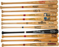 Autographs:Bats, 1990's Hall of Famers Signed Bats with Ted Williams, Ernie Banks, Stan Musial & Others Lot of 11....