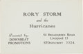 Music Memorabilia:Memorabilia, Beatles Related - Rory Storm and The Hurricanes Business Cards,Late 1950s to Early 1960s....