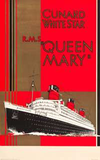 "Cunard-White Star RMS Queen Mary Travel Poster (c.1936). Full-Bleed Poster (25"" X 40"")"