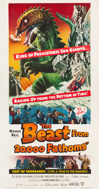 "The Beast from 20,000 Fathoms (Warner Brothers, 1953). Three Sheet (41.5"" X 79"")"