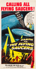 "Movie Posters:Science Fiction, Earth vs. the Flying Saucers (Columbia, 1956). Three Sheet (41"" X78.75"").. ..."