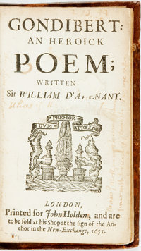 [Featured Lot] D'Avenant (Davenant), Sir William. Gondibert: An Heroick Poem. London: for John Holden, 1651. 8vo. A-