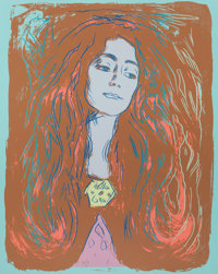 ANDY WARHOL (American, 1928-1987) Eva Mudocci (After Munch), 1984 Unique screenprint in colors on Le