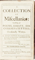 Books:Literature Pre-1900, Norris, John. A Collection Of Miscellanies: Consisting OfPoems, Essays,. Discourses & Letters, OccasionallyW...