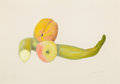 Fine Art - Work on Paper:Drawing, JOSEPH STELLA (American, 1877-1946). Still Life with TwoPeaches, circa 1919. Silverpoint and crayon on paper. 9-7/8 x1...