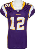 Football Collectibles:Uniforms, 2009 Percy Harvin Game Worn, Unwashed Minnesota Vikings - Worn 11/15 Vs. Detroit....
