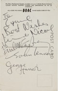 Music Memorabilia:Autographs and Signed Items, Beatles Autographed Postcard With Jimmie Nichol Signature, 1964....