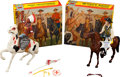 Non-Sport Cards:Other, Vintage Hartland Statues - Wyatt Earp & Chief Thunderbird Pair (2) Both With Boxes & Hang Tags. ...