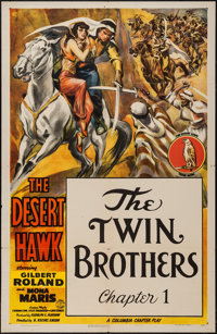 """The Desert Hawk (Columbia, 1944). One Sheet (27"""" X 41"""") Chapter 1 -- """"The Twin Brothers."""" Serial..."""