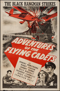 "Adventures of the Flying Cadets (Universal, 1943). One Sheet (27"" X 41""). Chapter 1 -- ""The Black Hangman..."
