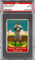 Baseball Cards:Singles (1930-1939), 1933 Delong Kiki Cuyler #8 PSA NM 7....