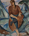 Fine Art - Painting, American:Modern  (1900 1949)  , MAURICE STERNE (American, 1878-1957). Angelina Toppoli,1910. Oil on canvas. 32 x 25-3/4 inches (81.3 x 65.4 cm). Signedlow...