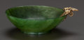 Asian:Chinese, A CHINESE NEPHRITE BOWL WITH FRENCH 18K GOLD MOUNT, circa 1900.Marks: (boar's head). 3/4 inches high x 3 inches wide (1.9 x...