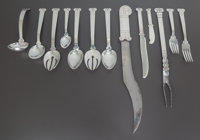 A NINETY-TWO PIECE HÉCTOR AGUILAR MEXICAN SILVER AZTEC PATTERN FLATWARE SERVICE, Tax