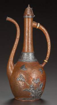 A GORHAM MIXED METAL TURKISH COFFEE POT, Providence, Rhode Island, 1884 Marks: GORHAM CO., (anchor)